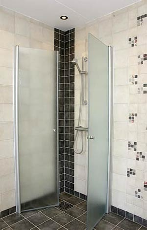 Inredning duschdörrar rak vägg : Succe rak natur 85x85 granit